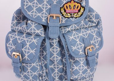 Embroidered Denim Backpack with Badges