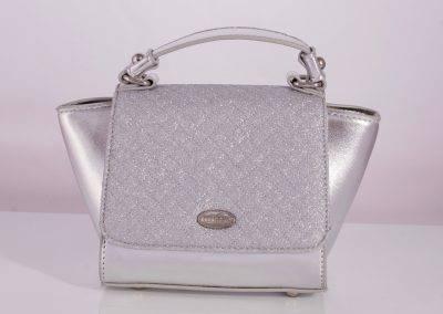 Silver Quilted Glitter Mini Winged Tote