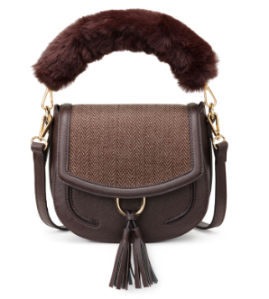 Chocolate Herringbone Saddle Bag