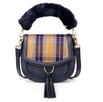 Navy Check Saddle Bag
