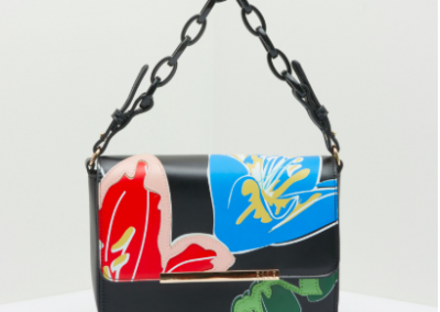 Black Floral Shoulder Bag