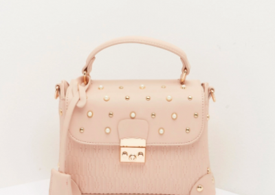 Pale Pink Embellished Satchel