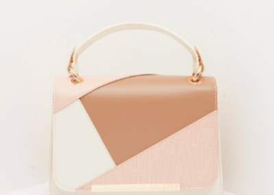 Beige colourblock satchel