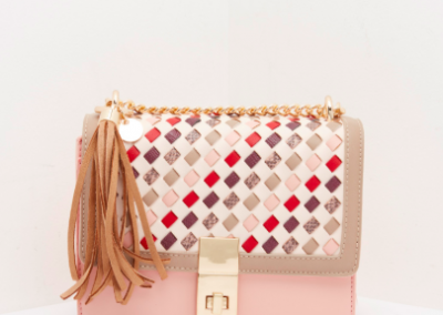 Pink Weave Structured Shoulder Bag