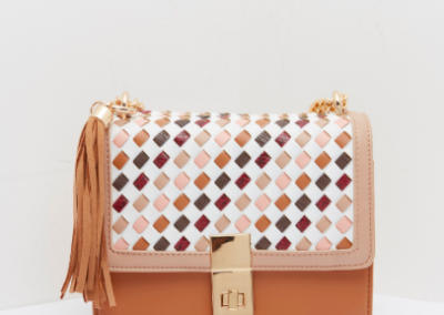 Tan Weave Structured Shoulder Bag