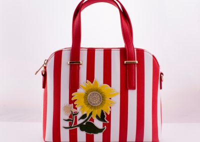 Stripe Flower Appliqué Kettle Bag