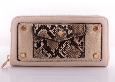 Cream/Snake Zip Around Purse