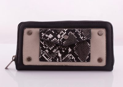 Black/Snake Zip Around Purse