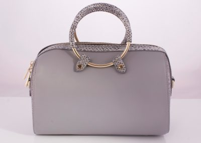 Grey Ring Handle Metallic Snake Bowler Bag