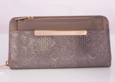 Pewter Metallic Snake Zip Around Purse