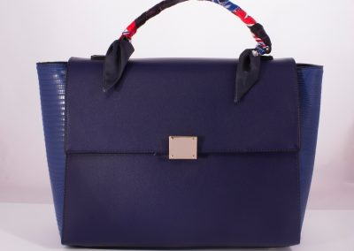 Navy Scarf Top Handle Bag