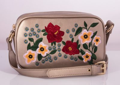 Embroidered Bronze Camera Bag