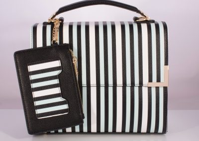 Navy/Ice Blue Stripe Boxy Top Handle Bag