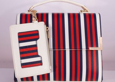 Red/White Stripe Boxy Top Handle Bag