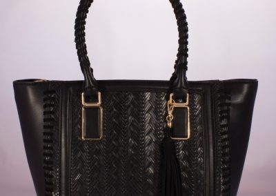 Black Plait Weave Tote