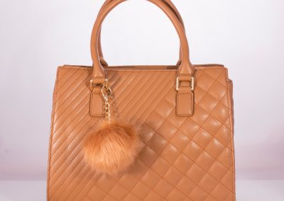 Camel Quilted Boxy Tote with Pom Pom Charm