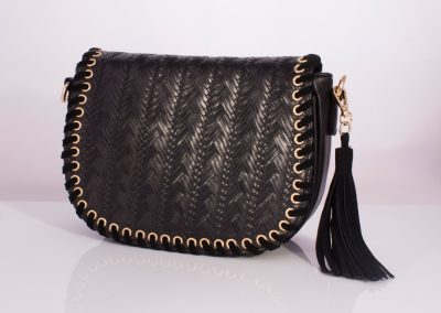 Black Plait Weave Whipstitch Saddle Bag with Tassel