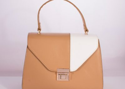 Camel/Ivory Colour Block Ladylike Top Handle Bag