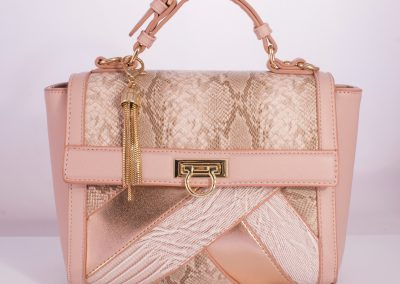 Blush/Rose Gold Patchwork Ladylike Top Handle Bag
