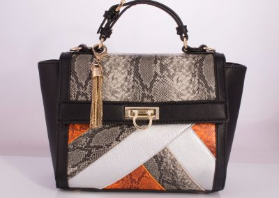 Black/Snake Patchwork Ladylike Top Handle Bag