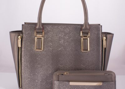 pewter tote and purse