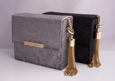 Embossed Velvet Chain Strap Boxy Bags