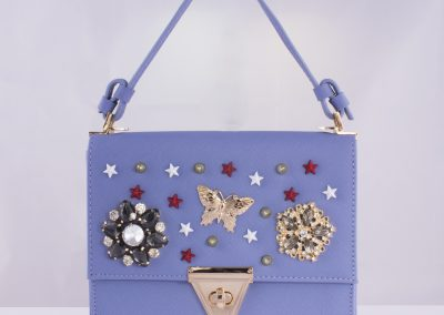 Ceramic Blue Brooch Encrusted Top Handle Bag