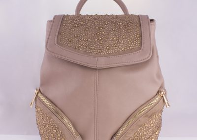 Rose Dust Diamante Zip Detail Backpack