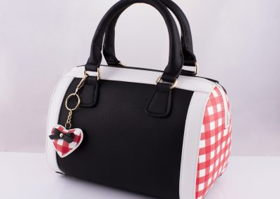 Black_Gingham Red Bowling Bag - Teen Fashion
