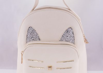 Ivory_Glitter Cat Backpack - Teen Fashion