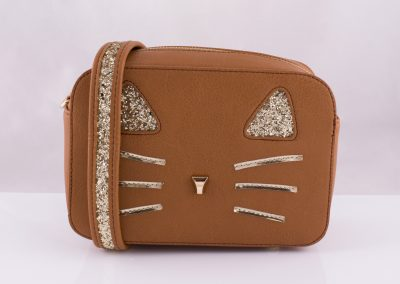 Tan_Glitter Cat Camera Bag - Teen Fashion