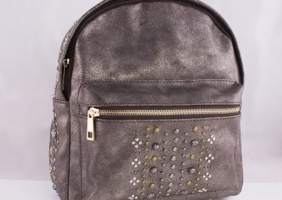 Mixed Metals Studded Pewter Dusted Backpack