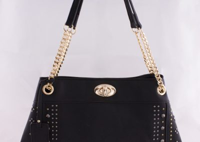 Mixed Metals Studded Chain Strap Tote