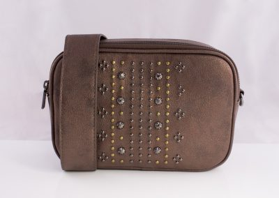 Mixed Metals Studded Bronze Camera Bag