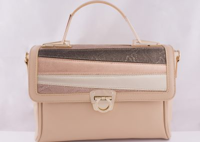 Pink_Rose Gold Patchwork Top Handle Bag