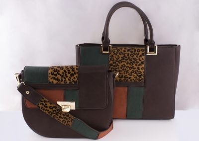 Animal Print_Brown Patchwork Saddle Bag and Tote