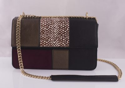 Patchwork Panelled Chain Strap Boxy Bag