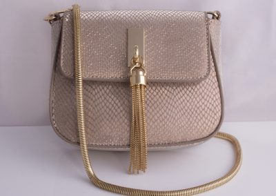 Gold Textured Mini Saddle Bag with Tassel Detail