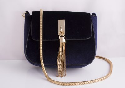 Midnight Navy Velvet Mini Saddle Bag with Tassel Detail