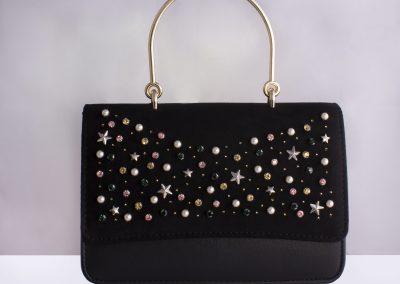 Black Scatter Studded Top Handle Bag