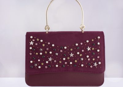 Burgundy Scatter Studded Top Handle Bag