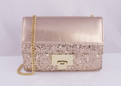 Rose Gold_Glitter Chain Strap Boxy Bag