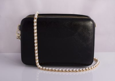 Minimalist Boxy Camera Bag with Pearl Chain Strap