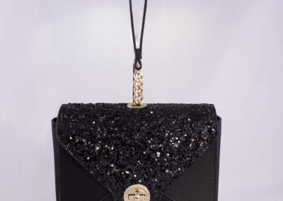 Black Satin/Glitter Wristlet Clutch