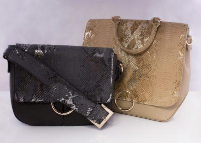 Metallic Snake_Metal Ring Shoulder Bag and Convertible Backpack