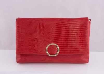 Red Snakeskin Soft Foldover Clutch