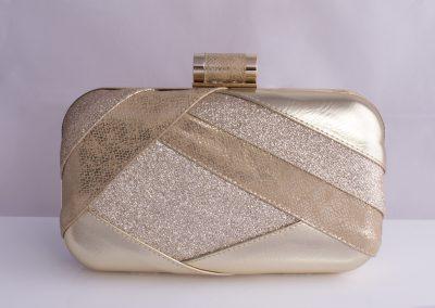 Gold Patchwork Glitter Minaudiere Clutch